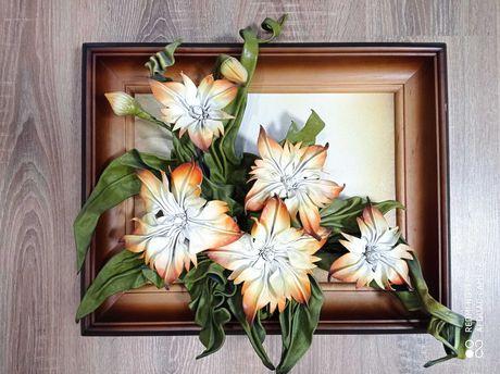 Картина цветы из кожи
