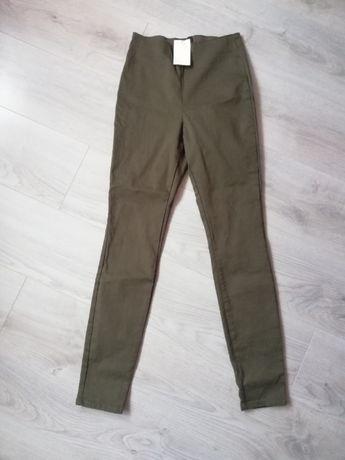 Spodnie / Legginsy wysoki stan materiałowe elastyczne rozm 36 H&M