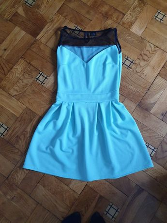 Miętowa sukienka z siateczką rozm