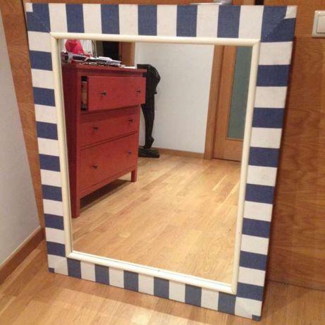 Espelho Grande em moldura madeira muito pesado 1m20cm por 1m