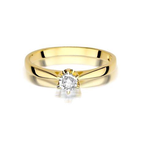 Złoty pierścionek z brylantem żółte białe złoto GRAWER gratis SKLEP