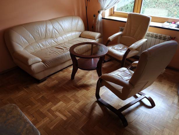 Sofa kanapa skórzana ecru z fotelami i stolikiem
