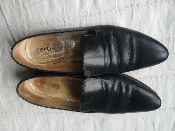 Skórzane buty Pertini, granatowe - rozmiar 41