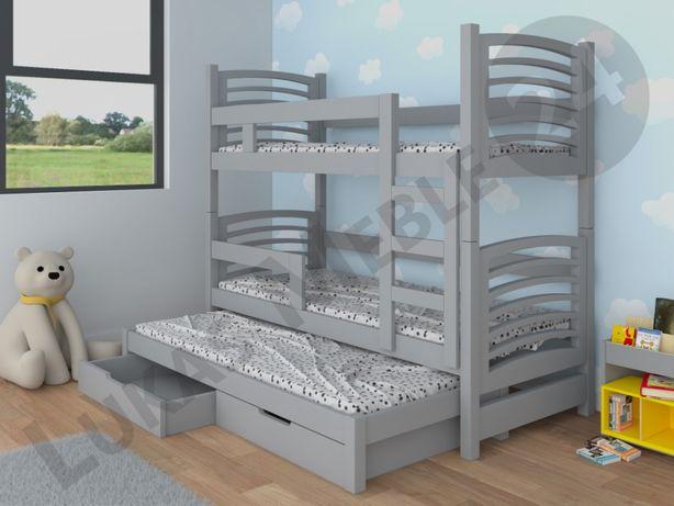 Łóżko piętrowe OLI 3 z wysuwanym spaniem + materace