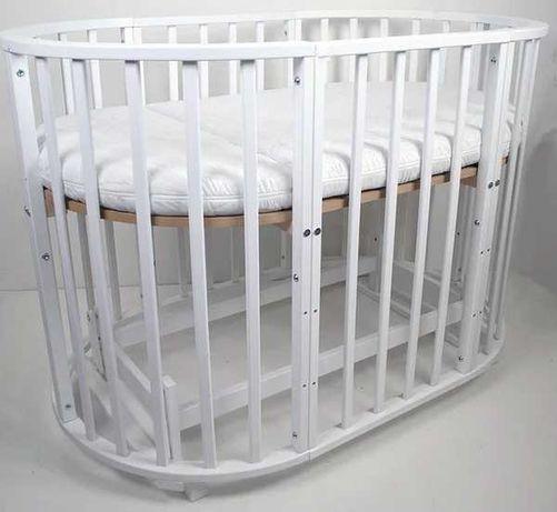Кроватка круглая Babymax Каприз Бук, маятник, колеса, матрас