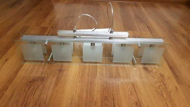 Żyrandol szklany 14 cm x 75 cm wraz z żarówkami