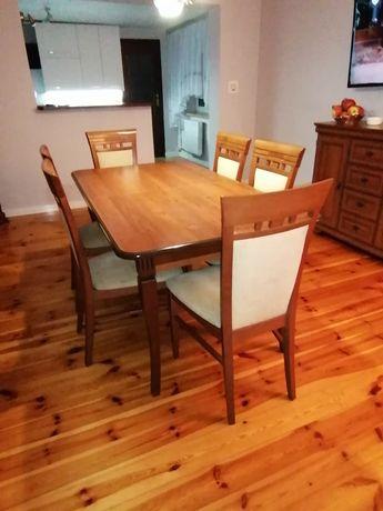 Zestaw mebli, Jadalnia, stół + 6 krzeseł, witryna i dwie komody