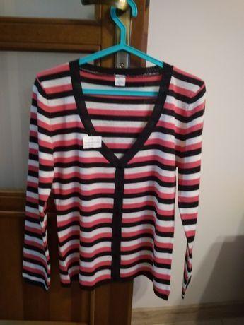 Nowy sweterek w paski-rozpinany-roz.M
