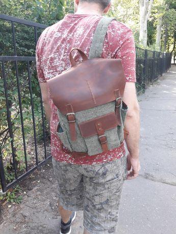 Комбинированный рюкзак, текстиль/кожа, ручная работа