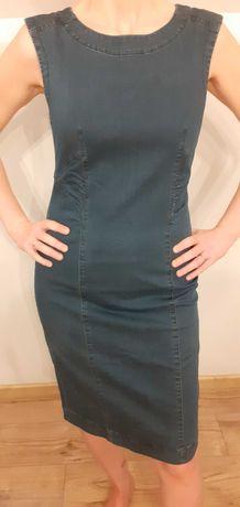 Niebieska dopasowana sukienka - rozmiar 38 TABOO