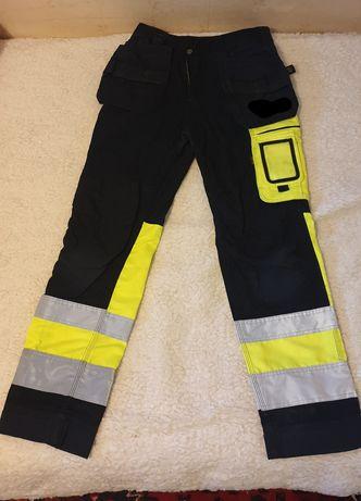 Spodnie robocze odblaskowe  rozm 144 obwod pasa 80cm.
