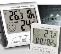 Stacja Pogody Termometr Wewnątrz I Na Zewnątrz Pomiary Temp Zegar