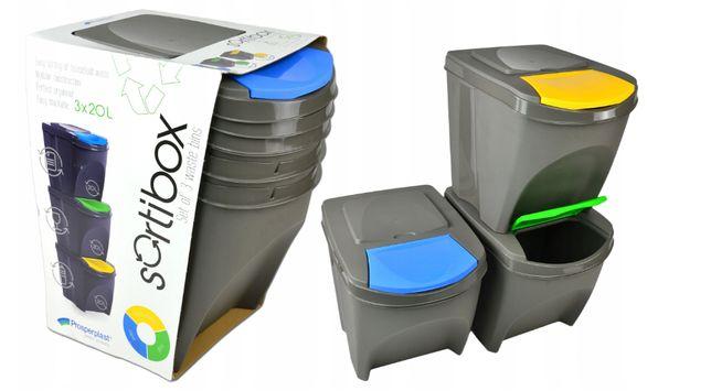 Zestaw Koszy do Segregacji 3x25L SortiBox - NOWY - odsprzedam