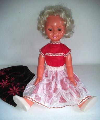 Piękna duża stara lalka PRL +ręcznie szyte ubrania
