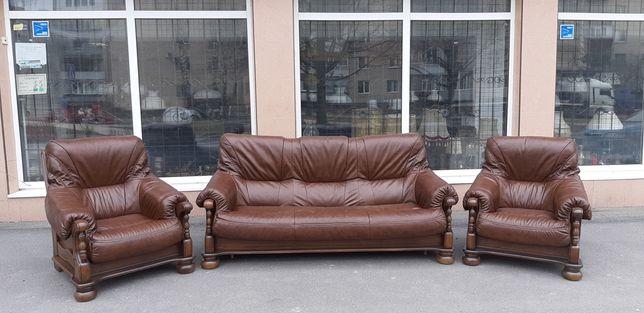 Раскладной Новый Кожаный диван и два кресла, шкіряний диван