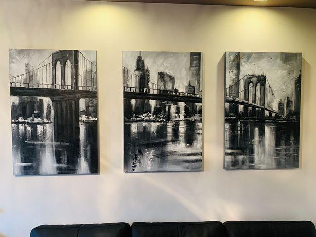 Obraz tryptyk Mostu Brooklynskiego