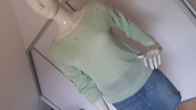 Sweterek bluzka miętowa zielona perełki M L 38 40