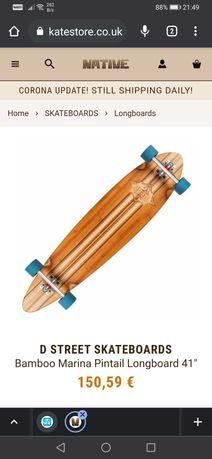 "Longboard D-Street  Bamboo Marina Pintail Longboard 41"""