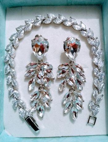 Biżuteria komplet kolczyki bransoletka kryształy dzień kobiet