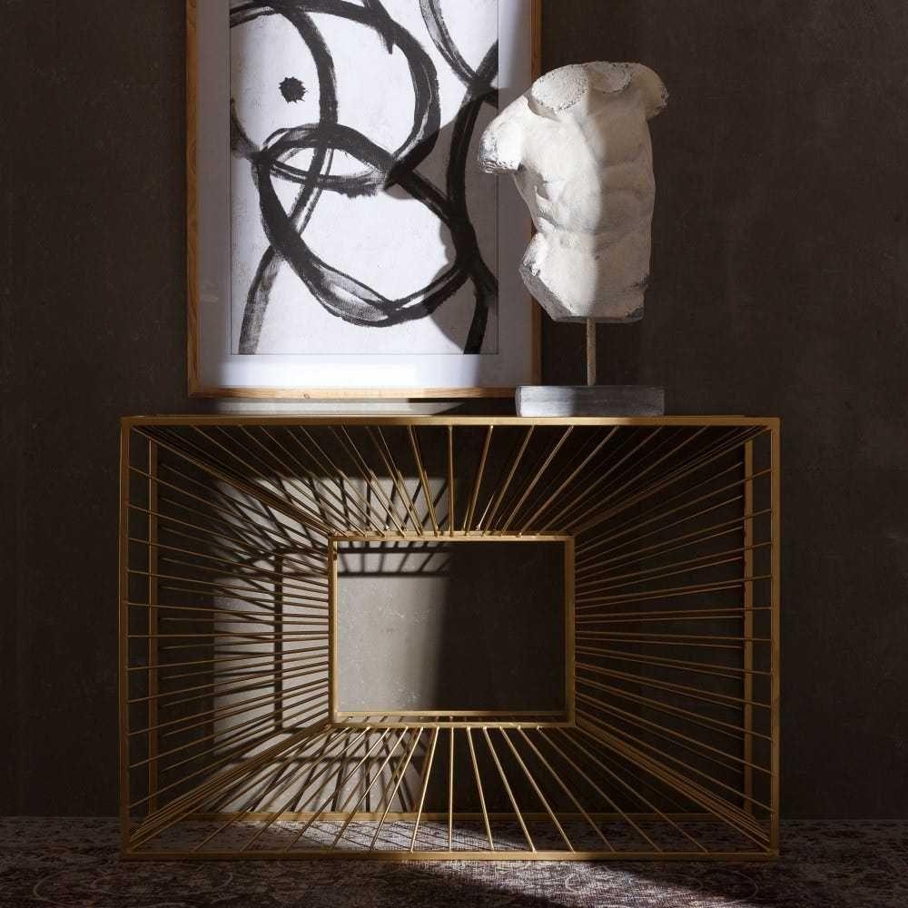 Consola de metal dourado - 120X40X81CM By Arcoazul