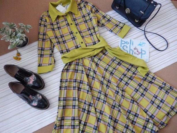 Салатовое платье рубашка в клетку шотландскую миди под ретро