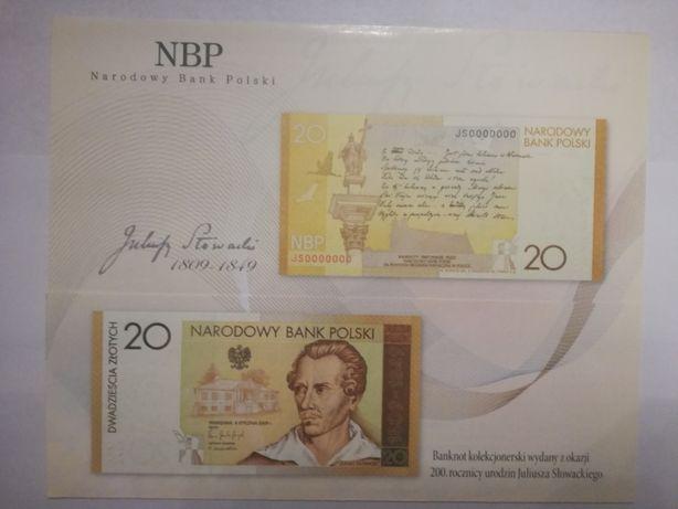 Folder do banknotu 20zł Juliusz Słowacki