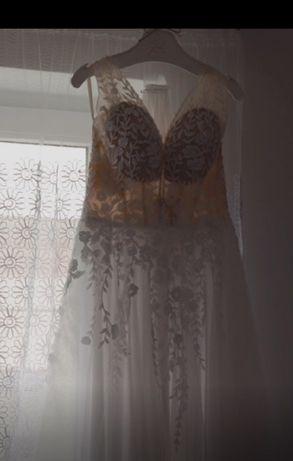 Suknia ślubna T85 - beż/biel kolekcja 2020