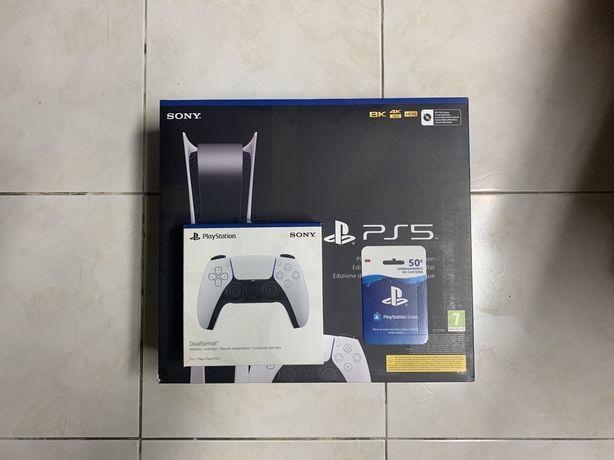 Playstation 5 Digital + 2° comando Branco + Código de 50€ ps5 (NOVA)