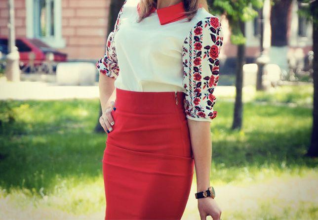 Блуза в украинском стиле с цветами!