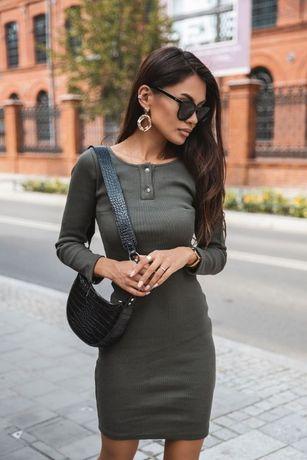 Cocomore Sukienka dopasowana prążek khaki S/M/L -modalux.pl