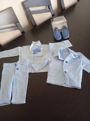 Komplet do chrztu dla chłopca roz. 68 + buciki - jak nowe!