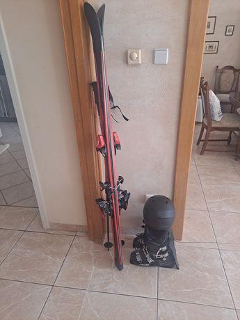 Sprzęt narciarski narty kask kijki kurtka spodnie