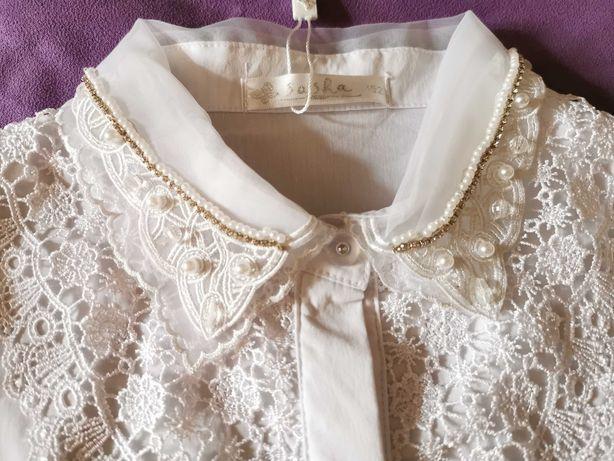 Блузка школьная белая нарядная Турция 140-146-152