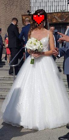 Sprzedam suknie ślubną z trenem plus welon