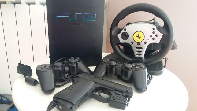 Consola PS2 + 2 Comandos + Arma + Volante + Chip