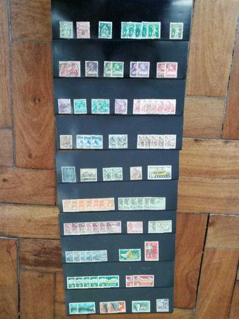Conjunto de selos de vários países