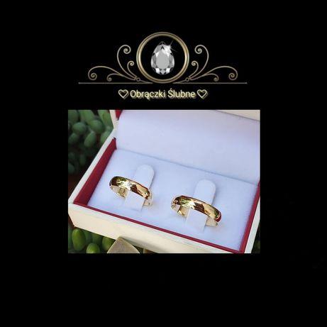 Ponadczasowa Para Złotych Obrączek Ślubnych Piękna Lśniąca Cyrkonia