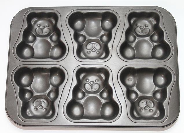 Tabuleiro para bolos anti-aderente em forma de ursos (6 unidades)