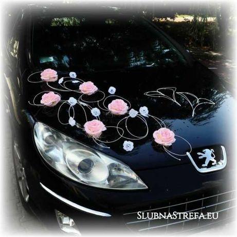 dekoracja auta na samochód ślub wesele kwiaty różne kolory