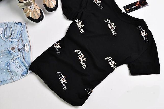 T-shirt Myszka Miki mouse Mint czarna cyrkonie print panterka 40 L