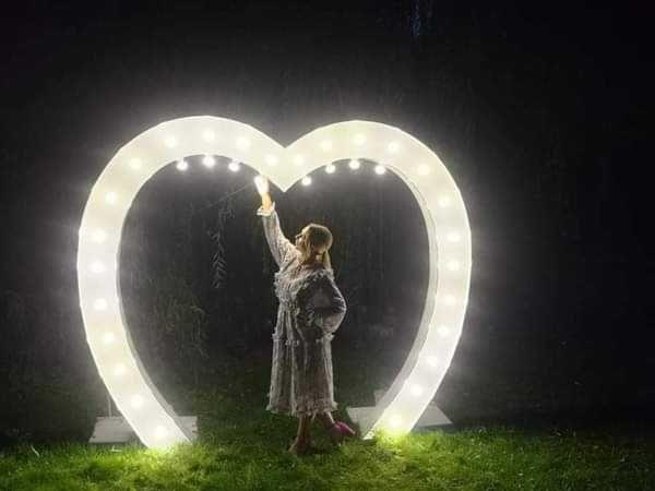 Napis Led, ogromne serce, Love, Żona & Mąż wynajem ślub zaręczyny