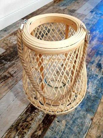 Lampion latarnia boho bambusowy