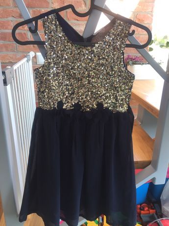 Złoto granatowa sukienka 128