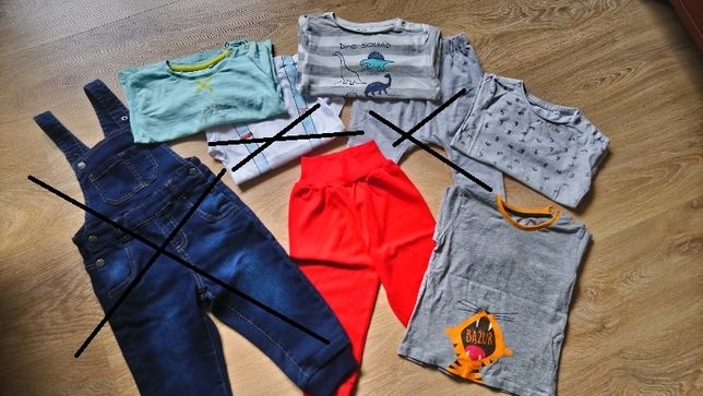 Ubranka dla chłopaka roz. 86 (czapki, koszulki, spodnie, body)