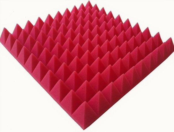 maty akustyczne panele wyciszające 50x50x7cm czerwona szczecin