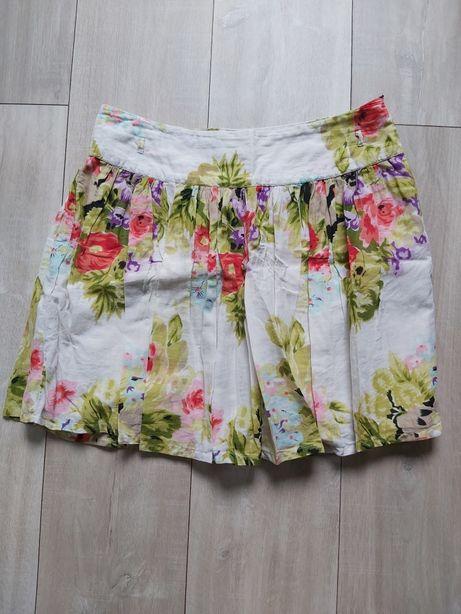 Spódnica jak malowana w kwiaty Camaieu 38 bawełna zwiewna