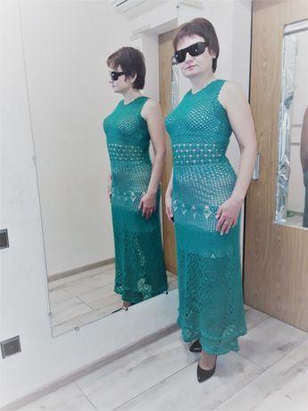 """Платье женское """"Изумрудная сказка"""", связанное крючком"""