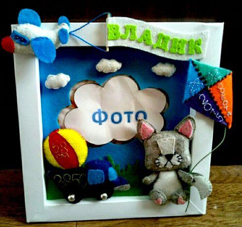 Фетровая Рамка метрика для фото) подарок новорожденному