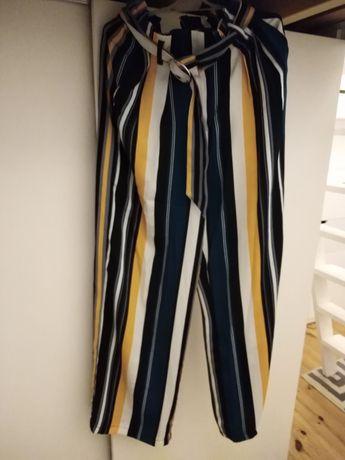 Spodnie Bershka 34 modne szerokie paski