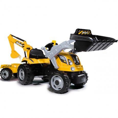 Duży żółty traktorek 3-7 lat Traktor Na Pedały MAX Przyczepa Koparka